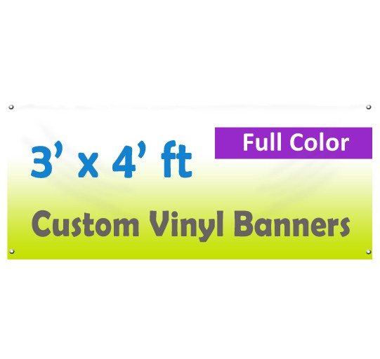 3x4ft Color Custom Printed Vinyl Banner