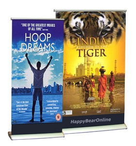 "Double Sided 12""x16.5"" inch Mini Desktop Retractable Banner 30x4"
