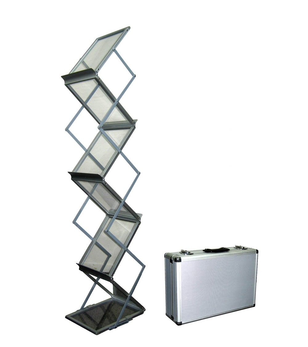 Foldable Metal 6 Pocket Brochure Stand