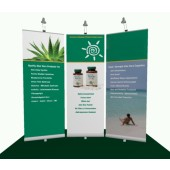 3x Retractable Banner Stands Set with 3 Halogen Lights